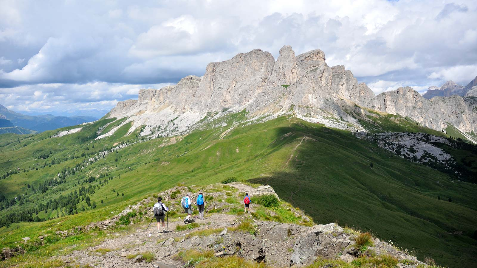 Group of hikers on the Col di Lana, Sief, Setsas and Pareti di Gerda