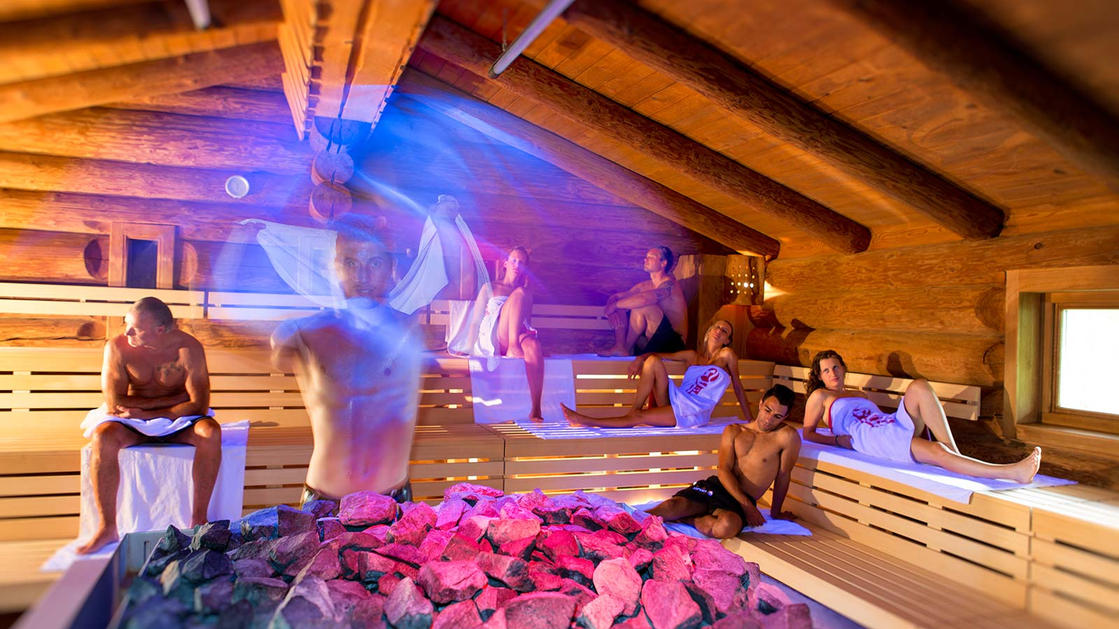 Aufguss all'interno della sauna dell'area wellness dell'Hotel Teresa